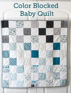 """Simple Pattern for a Baby Quilt on polkadotchair.com-by Melissa Mortenson - Quilt Size: 47 inches wide x 47 inches long-Today I'm going to share with you how to make this Color Blocked Baby Quilt. It's a very simple design, no need for a pattern. The blocks are arranged in color order with the darkest at the top going down to the lightest at the bottom. you'll need: Fat Quarters of various prints. You can get 20 5"""" x 5"""" squares per fat quarter and this quilt takes 40 5"""" x 5"""" square prints."""