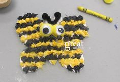 Bee themed craft for children kids using tissue paper googley eyes and card stock