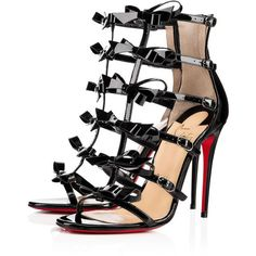 Girlistrappi 100 Black Patent Leather - Women Shoes - Christian... (€1.215) ❤ liked on Polyvore featuring shoes, sandals, christian louboutin, christian louboutin sandals, patent leather shoes, black strappy shoes, black strap sandals and bow sandals