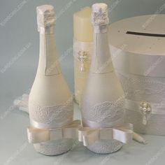 Свадебный декор бутылок Ivory Wedding