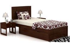 Gary Single Bed (Walnut Finish)