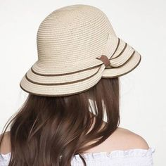 e5399fdb199 Fashion striped bow straw hat for sun protection womens UV summer beach hats