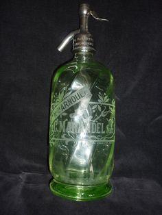 SIPHON ancien bouteille eau SELTZ pub verre vert ABSINTHE REMONCOURT VOSGESTbé. Euro 140,- at 2014 by Ebay.fr