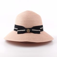 Summer Beach Hats For Women Wide Brim Floppy Straw Hat Fashion Bow Letter M Sunhat Sombreros Mujer