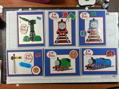 """handmade cards from """"airbornewife's stamping spot"""" .... trains ... Thomas the Tank Train stickers ... luv the bold primary colors ...messages is for Valentine's Day but any other short senttiment could be placed in the talk balloon ... fun cards!!"""
