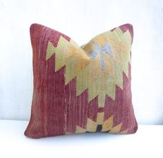 Burgundy Kilim Pillow Cover with Medallion