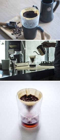 This modern pour over is made from double wall insulated glass. Delicate in design, this coffee accessory allows you to watch the magic happen.