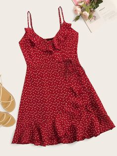 To find out about the Plus Confetti Heart Print Ruffle Trim Tied Cami Dress at SHEIN, part of our latest Plus Size Dresses ready to shop online today! Plus Size Dresses, Cute Dresses, Casual Dresses, Girls Dresses, Summer Dresses, Summer Outfits, Slip Dresses, Peasant Dresses, Woman Dresses