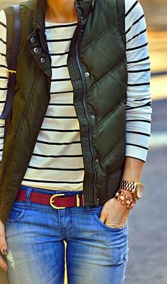 Cool Fashion Puffer Vest, Denim And Striped Shirt
