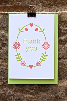 Thank you card by KateandtheInk on Etsy, £2.60