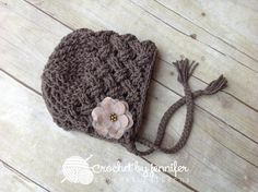 Looking for your next project? You're going to love Diagonal Weave Baby Bonnet by designer crochetbyjen.