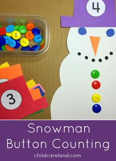 Snowman Button Counting for math and fine motor development.