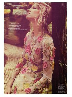 Wild and Tactile - Blumarine Fall Winter 2015/2016 • Tulle long dress with floral embroideries. • GLAMOUR, Germany - October 2015