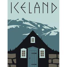 Vintage Iceland Travel Poster Art Print Poster 12x18 inch #vintagetravelposters