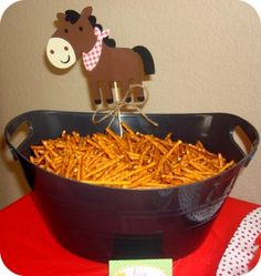 """Another healthy and adaptable farm theme snack: """"Hay"""" is for horses! Swap out the tag for a pic of the Duplo horse! #LegoDuploParty"""