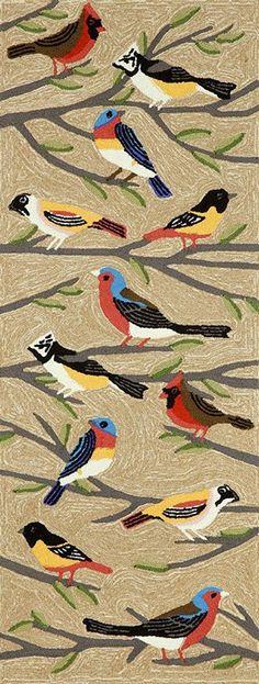 Trans Ocean Frontporch Birds 1440/44 Multi Area Rug