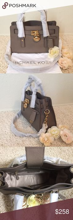 """MICHAEL Michael Kors Hamilton Medium Satchel A brand new 100% authentic handbag from MICHAEL Michael Kors; Original price: $298 + Tax; Size: Medium; Color: Dark dune; Material: Saffiano leather; Lining: Polyester; Hardware: Gold-tone; Dimension: 9"""" H x 12"""" L x 5"""" D; Exterior: Shoulder strap, Dual top handles, Foldover flap with magnetic closure, Magnetic closure, Feet; Interior: 1 zip wall pocket, 2 slip pockets, and 1 key strap; Others:4"""" handle drop, 11"""" strap drop, Dust bag included…"""