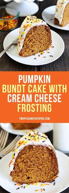 Pumpkin Bundt Cake with Cream Cheese Frosting-this easy pumpkin spice cake is super moist and a fall favorite dessert!