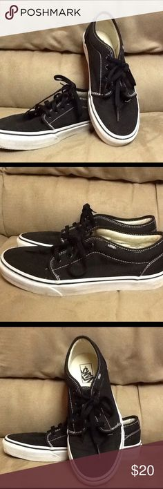 Vans Black Lace Up These were worn once in a department store fashion show. Perfect condition. Black textile with white trim. Black laces. Vans Shoes Flats & Loafers