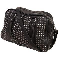 Studded Leatherette Handbag (46 CAD) ❤ liked on Polyvore featuring bags, handbags, shoulder bags, bolsos, accessories, purses, women, zipper purse, pu leather handbag and antique handbags
