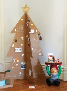 cardboard-Christmas-tree---use as a xmas card, guest book,. want to make with the boys!!!