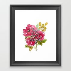 Joy of the Lord Christian Art.  Peony wall art.  Original watercolor art by Hand and Hart Designs.  Choose from a variety of frame styles, colors and sizes to complement your favorite Society6 gallery, or fine art print - made ready to hang. Fine-crafted from solid woods, premium shatterproof acrylic protects the face of the art print, while an acid free dust cover on the back provides a custom finish. All framed art prints include wall hanging hardware.