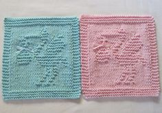 Knitted Baby Boy/Girl Stork Washcloths Set  New by TalicakeCrochet