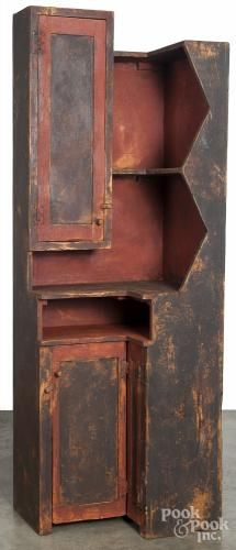 Contemporary painted pine corner cabinet, h., 26 w. Living Room Decor Country, Farmhouse Living Room Furniture, Colonial Furniture, Primitive Furniture, Primitive Antiques, Country Furniture, Country Primitive, Country Decor, Antique Furniture