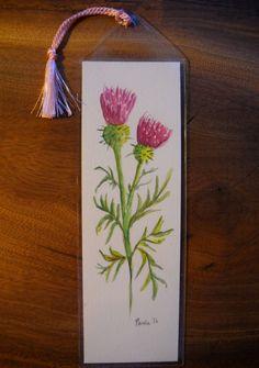 Originele aquarel bladwijzer, niet A PRINT Thistle Flower Garden schilderij vinyl mouw/tassle. Natuur, gardner, boek minnaar cadeau 043