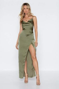 Make your own rules. The Cowl Play Dress comes in satin and features a midi silhouette, cowl neckline, split at front, adjustable straps, and zip closure at side. Grad Dresses, Ball Dresses, Satin Dresses, Dress Outfits, Gowns, Fashion Outfits, Formal Dresses, Women's Dresses, Dresses Online