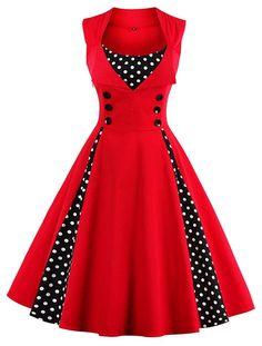 Tina Silvergray 1950s Polka Dots Patchwork Sleeveless Swing Dress at Amazon Women's Clothing store:  https://www.amazon.com/gp/product/B01MCYQJG3/ref=as_li_qf_sp_asin_il_tl?ie=UTF8&tag=rockaclothsto-20&camp=1789&creative=9325&linkCode=as2&creativeASIN=B01MCYQJG3&linkId=1f44a1661d1dd7920a700b8e95b0d0e8