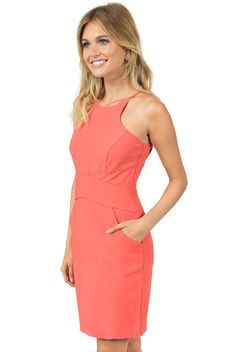 Teeze me sleeveless high neck color blocked dress at shoulders