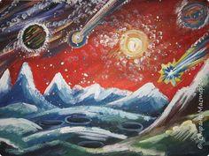 Картина панно рисунок Мастер-класс Урок рисования День космонавтики Рисование и живопись Космические роботы Акварель Бумага Гуашь Диски ватные фото 23