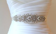 Bridal Silver Vintage Beaded Crystal, Pearl Sash. Rhinestone Applique Wedding Belt. Gold Bride Sash.  VINTAGE MODE