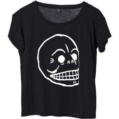Cheap Monday Lina Skull Tee Black ($22) ❤ liked on Polyvore featuring tops, t-shirts, shirts, tees, tee-shirt, cotton tees, t shirts, skull graphic tees and skull shirts