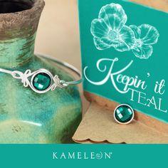 Kameleon Jewelry's Jewel Pop of the Week is KJP222 Keepin' It Teal from the Autumn Splendor Collection. Here it is shown in Bracelet KBR002 Flourish Bangle.