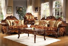 furniture amazing traditional living room furniture sets using italian sofa antique covered by floral chenille upholstery fabric  also gold silk throw pillow alongside carved coffee table legs