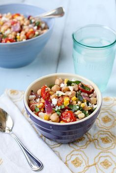 chickpea roasted veggie salad by annieseats, via Flickr  Amanda's notes: I think I will use whatever tomatoes I have around or in the garden, could sub frozen corn and a red pepper instead of hot pepper.