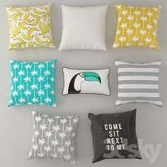 3d models: Pillows - Cushions from H & M Set 3 (tropical)