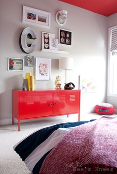 Gallery Wall Red Cabinets Little Boys Rooms Locker Dresser Shelves Storage