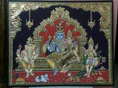 Tanjore painting Mysore Painting, Tanjore Painting, Old Paintings, Indian Paintings, Indian Gods, Indian Art, Shri Yantra, Shiva Art, God Pictures