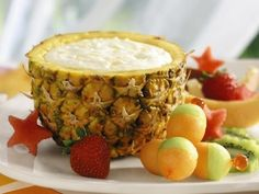 Pineapple Yogurt Dip ~ Cool and creamy, this dip makes a delicious centerpiece for a tray filled with assorted fresh fruits.