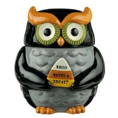 Very nice ceramic owl shaped cookie jar. Holds a lot of treats. Halloween Owl Cookie Jar is hand painted in Halloween colors of black, grey, orange and green. Kinds Of Cookies, How To Make Cookies, Owl Kitchen, Kitchen Decor, Kitchen Dining, Owl Cookies, Owl Cookie Jars, Cookie Cutters, Halloween Owl