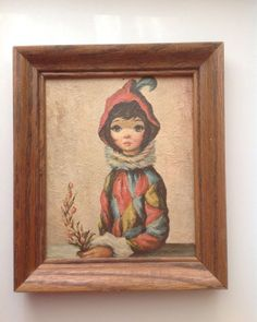 Vintage Harlequin Girl Big Eyes 1960s Maio #553 A Lambert Product  | eBay