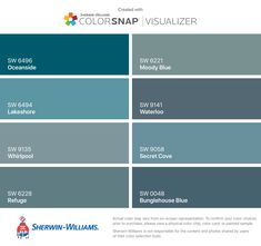 I found these colors with ColorSnap® Visualizer for iPhone by Sherwin-Williams: Indigo Batik (SW Denim (SW Endless Sea (SW Dignity Blue (SW Bunglehouse Blue (SW Santorini Blue (SW Marea Baja (SW Seaworthy (SW House Paint Exterior, Exterior Paint Colors, Exterior House Colors, Gray Exterior, Exterior Shutters, Blue Paint Colors, Paint Colors For Home, Wall Colors, Peacock Blue Paint