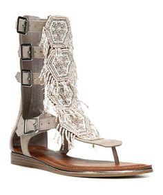 40aa207d0801da ... Fringe 2Buckle Strap Flat Thong Sandal leather textile ivory multi sz7.5  129.95 3 16