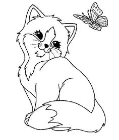 Kitten Coloring Pages for Adults Easy Coloring Pages, Cat Coloring Page, Flower Coloring Pages, Animal Coloring Pages, Free Printable Coloring Pages, Coloring Books, Big Eyed Animals, Kindergarten Coloring Pages, Kitten Images