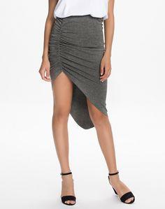 #SALE Grey Draped Asymmetric Hem Skirt #Sheinside