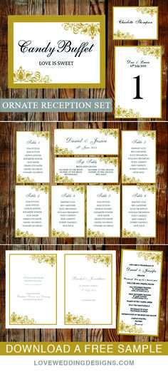 Gold ornate wedding templates. Printable wedding program, table plan, wedding sign and more. View the full collection and download a free sample.