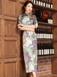 Retro Handmade Drawing Tea Length Chinese Dress Qipao Cheongsam - iDreamMart.com